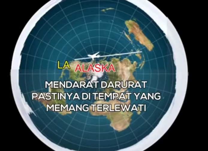 Bali-Alaska-LA Peta Bumi Datar