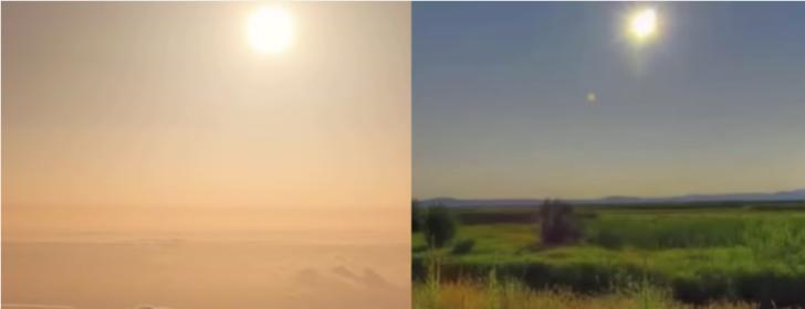 perbandingan-gambar-matahari-dari-udara-dan-darat