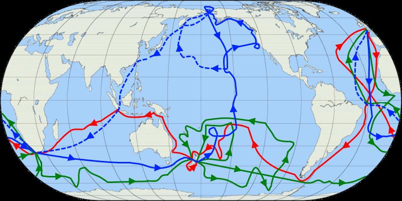 rute-expedisi-antartika-james-cook-dengan-peta-bumi-globe