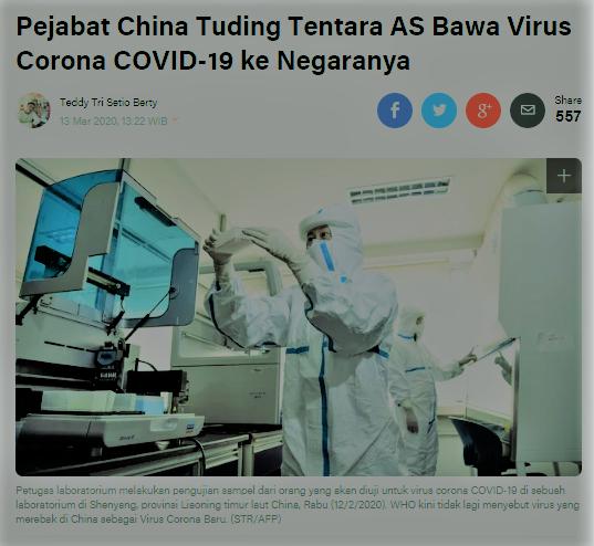 Liputan6.com, pejabat china tuding tentara AS bawa virus corona ke china