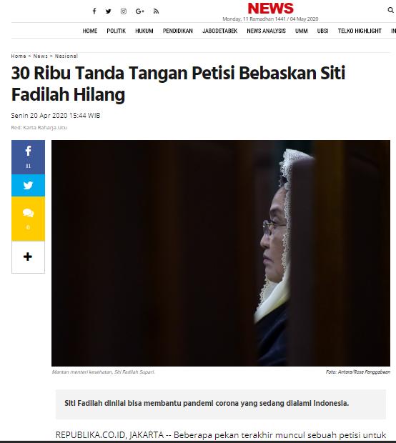 Petisi Siti Fadilah Supari Hilang